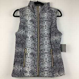 NWT Andrew Marc Snake Print Puffer Vest in Black